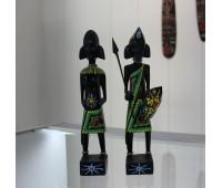 Набор из двух деревянных статуэток'Воин и девушка, племя Массаи' 23см.