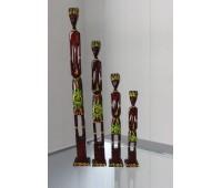 """Статуэтки """"Семейка аборигенов"""" дерево (набор 4 штуки) 40,30,25,20 см"""